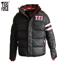 TIGER FORCE High Quality Men Fashion White Duck Down Jacket Winter Hooded Down Coat Solid Zipper Rib Sleeve Free Shipping D-403
