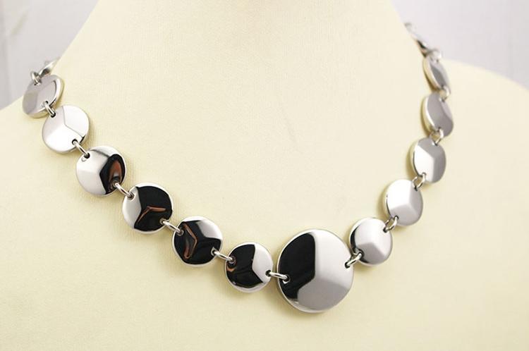 Fashion jewelry stainless steel necklace shiny big round chain links statement necklaces Corrente de elos Cadena de eslabones(China (Mainland))