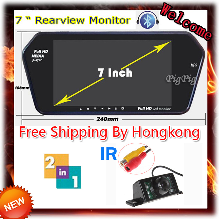 HD Full 7 TFT LCD Monitor WIth Bluetooth + MP5 &amp;  7 LEDs+1 IR Car Wireless Rear View Camera Night Vision Parking Camera by HK<br><br>Aliexpress