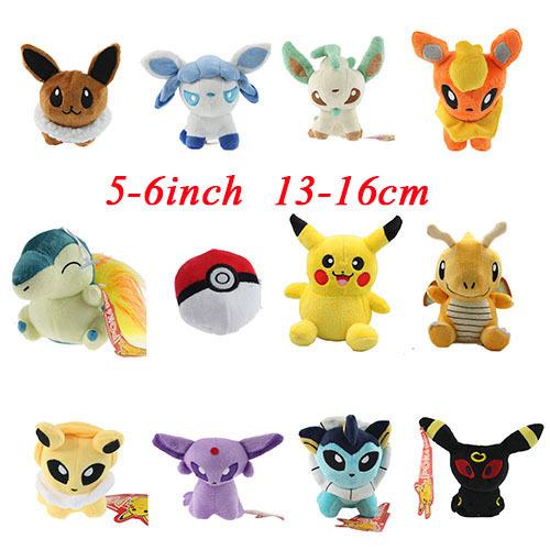 "New 12pcs/lot Pokemon Plush Toys 5"" Pikachu Umbreon Eevee Espeon Jolteon Vaporeon Flareon Glaceon Leafeon Animals Soft Stuffed(China (Mainland))"