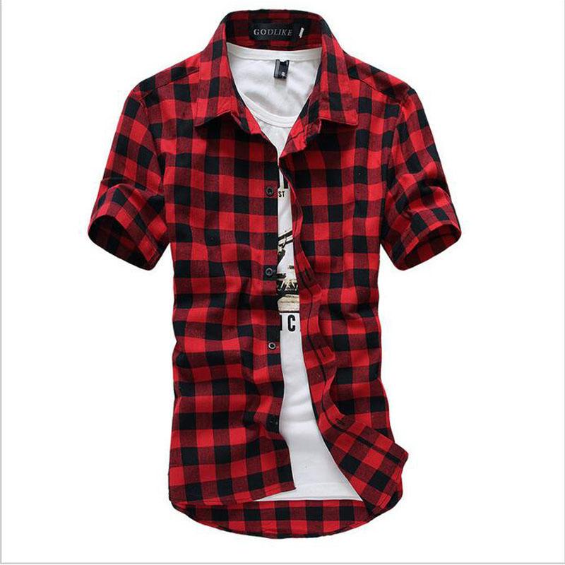 Red And Black Plaid Shirt Men Shirts 2016 New Summer Fashion Chemise Homme Mens Checkered Shirts Short Sleeve Shirt Men Cheap(China (Mainland))