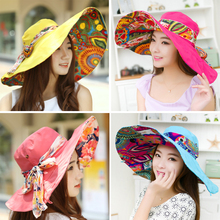 Hot 2015 Women Fashion Anti-UV Summer Hats Collapsible Face Protection Beach Hat Wide Big Brim Adjustable visor Sun Hat(China (Mainland))