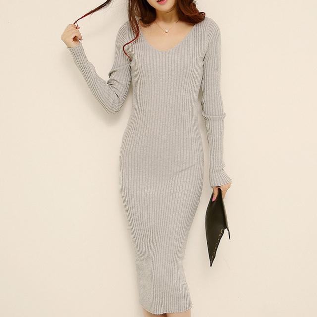 Длинный свитер Dress 2015 Autumn Winter Brand Design Plus Размер High Elastic V ...