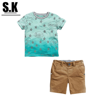 SK,2-7T Summer Boys Clothes 2016 Baby Boy Clothing Set Pattern Stars Toddler Boys Clothing Kids Children Clothing Set