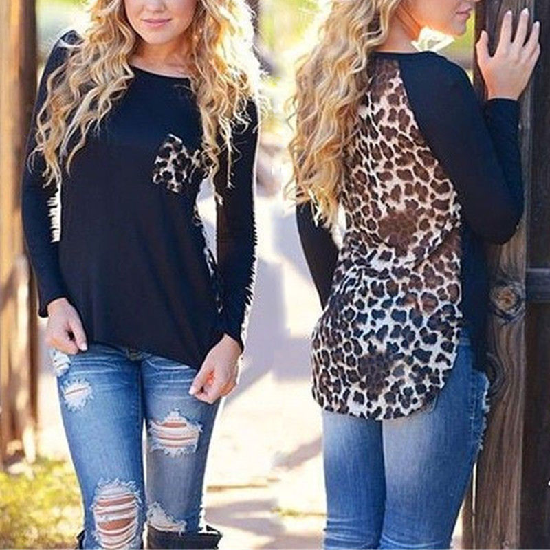 Loose Plus Size Leopard Chiffon Blouse for Women Lady Long Sleeve Blouse Casual Tops Pocket design J6123Одежда и ак�е��уары<br><br><br>Aliexpress