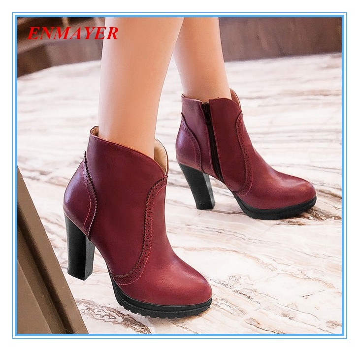 ENAYER 2014 NEW arrivals ankle boots for women sexy thick heels boots hot sale zipper boots pointed toe martin boots<br><br>Aliexpress