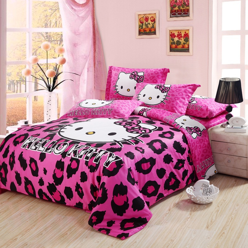 Spcial Deal Leopard print hello kitty cotton bedding