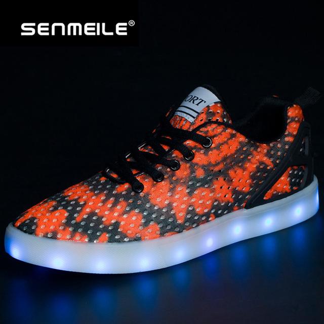 2016 новый стиль 2 цвета с глубоким вырезом светодиодные светящиеся повседневная обувь для мужчин и женщин 1603