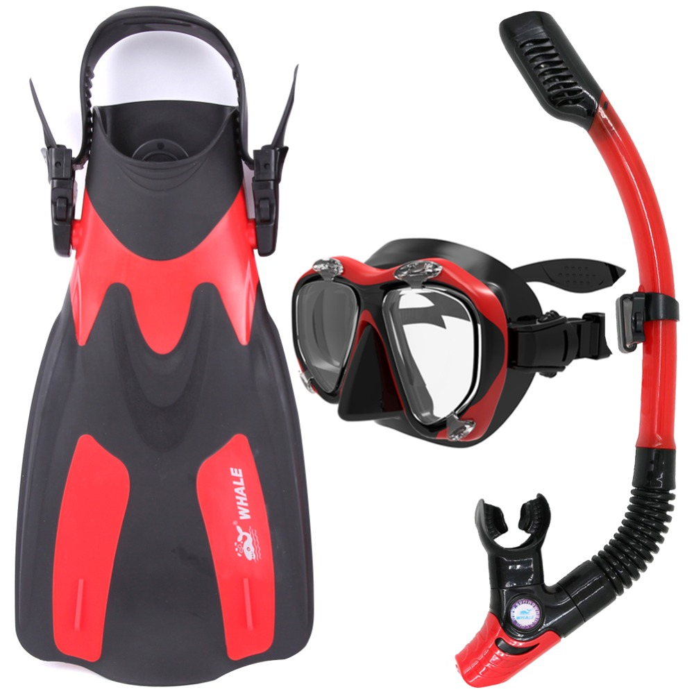 Whale Water Sports Diving Equipment Scuba Diving Mask snorkel fins set diving flippers MK2600+SK400A+FN200(China (Mainland))