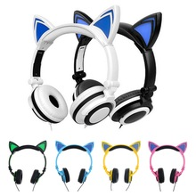 Wired Cat Ear headphones Games Stereo Headfone Earpiece Earphone With Mic For iPhone 5 Samsung Mobile Phone(China (Mainland))