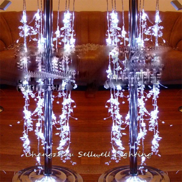 GREAT!Wedding celebration guide decoration 40 pcs white crystal bead curtain battery lamp H267