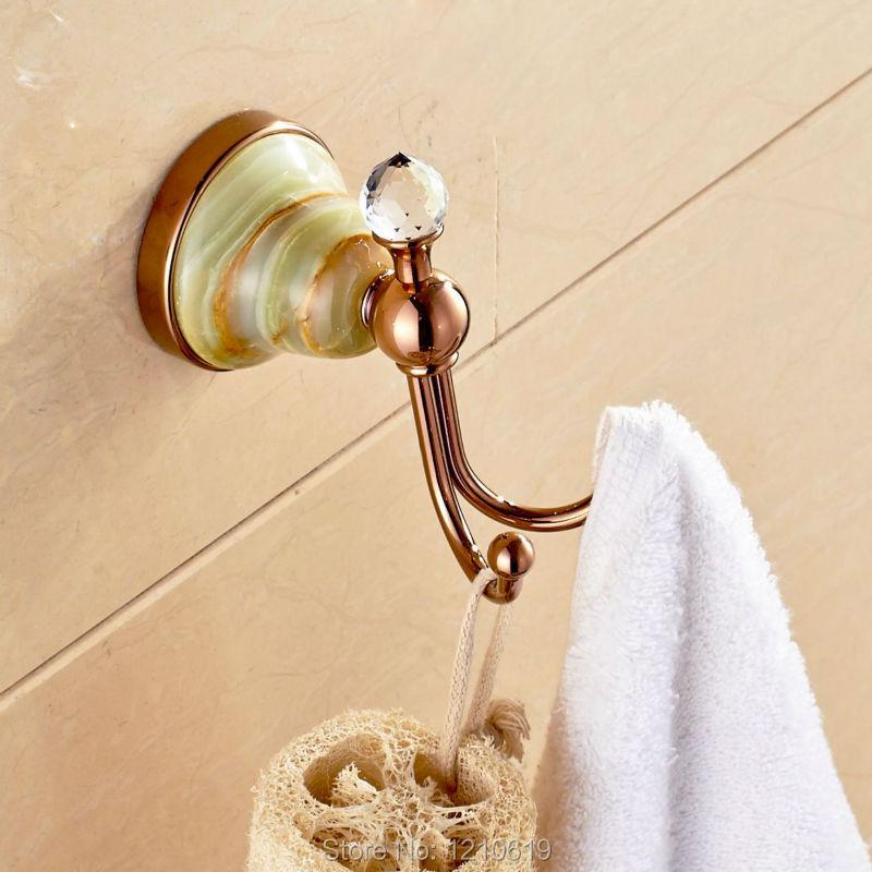 New Arrival Rose Gold Plate Bathroom Clothes Hanger Towel Hook Jade Washcloth Hook Hat&Coat Rack Wall Mount(China (Mainland))