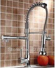 Cromo lucido primavera pull out kitchen sink rubinetto singola maniglia acqua calda e fredda rubinetto da cucina(China (Mainland))