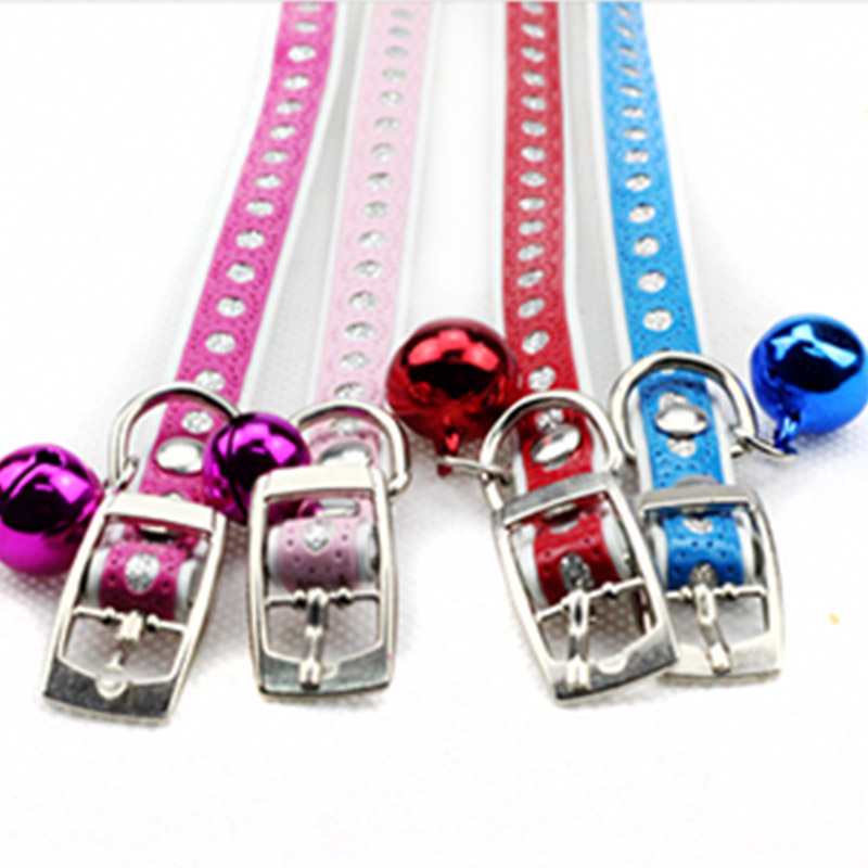 Bell Pendant Leather Buckle Pet Dog Collar Puppy Cat Pet Spiked Neck Strap Top Quality Free Shipping zCW0019(China (Mainland))
