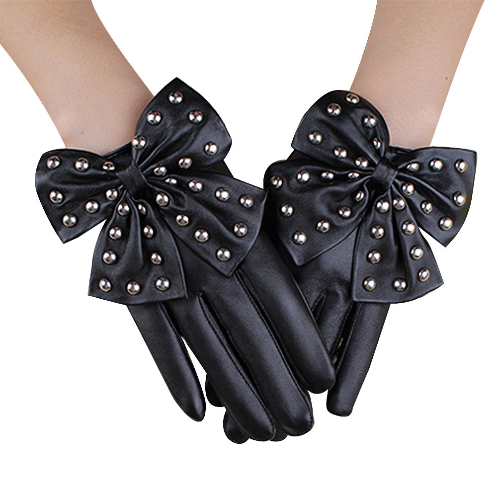 Buy leather gloves in bulk - Luck Dog Hot Sale Women Leather Rivet Winter Super Warm Gloves Cashmere Wholesale Price China