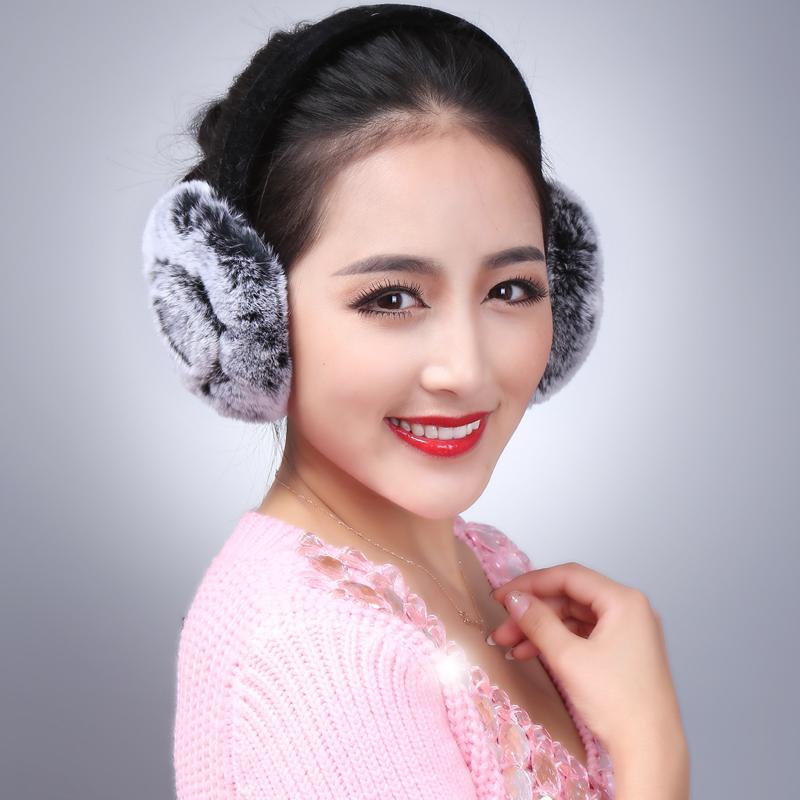 LIYAFUR New Women's Real Genuine Rex Rabbit Fur Winter Warm Earmuffs(China (Mainland))