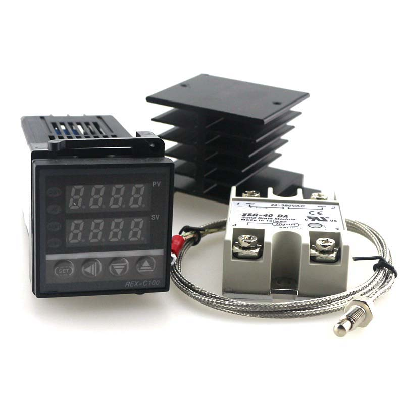 Dual PID Temperature Controller Kit SSR Output REX-C100 Digital Thermostat 220V AC with SSR-40DA Heat Sink 2m Quality K Probe(China (Mainland))
