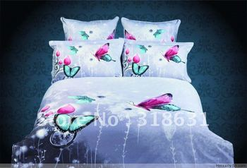 Queen/full size patterned beds quality cotton floral butterfly duvet doona cover bedding bed sets 4pc No filler oil painting