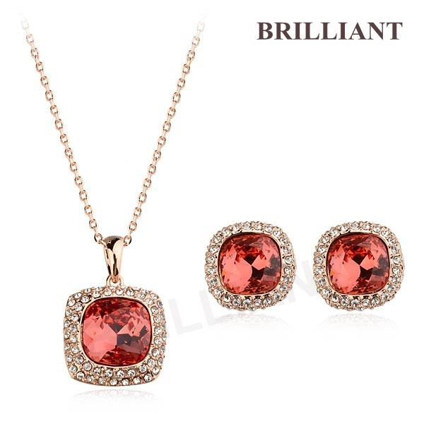 BS252 Noble Garnet Gem Pendant 18K Rose Gold Plated Italina Jewelry Sets Necklace & Earrings Beautiful Snowflake Crystals - Brilliant store