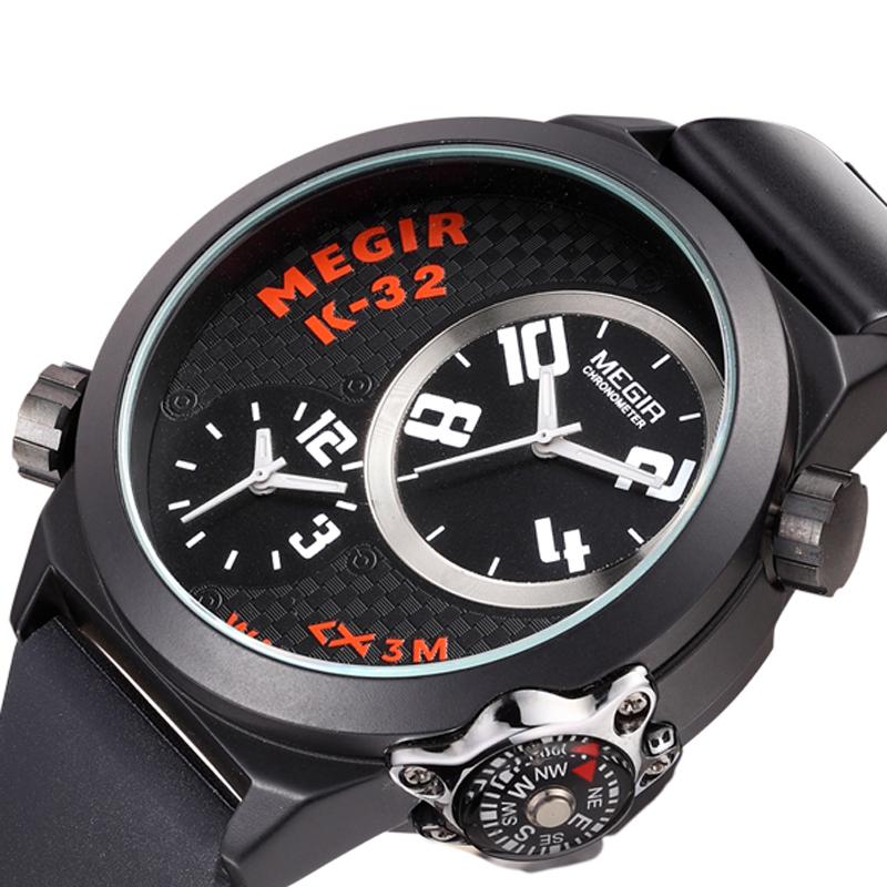 MEGIR Brand Luxury Silicone Belt Water Resistant Multiple Time Zones Men Watches Analog Quartz Watch Reloj