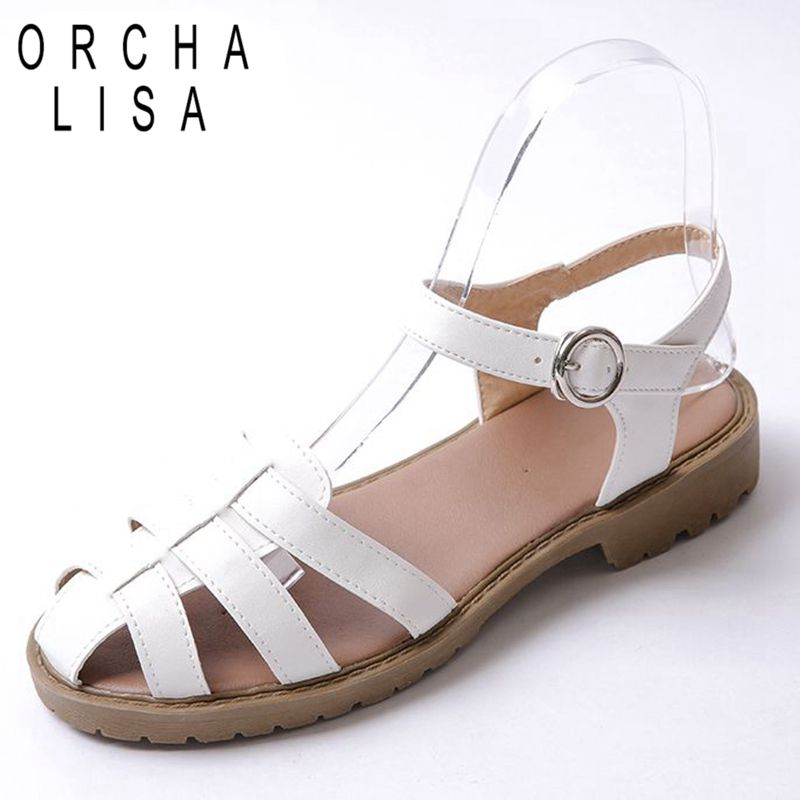 PU Ladies Flats sandals Women shoes Big size 34-43 Summer Causal Buckle strap Retro Black White Beige Rubber Shoes for Female(China (Mainland))