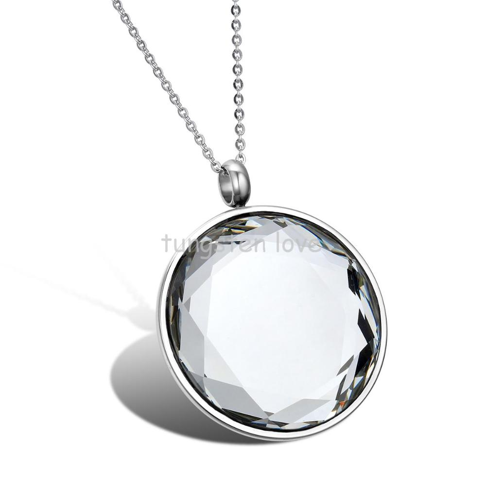 New Stainless Steel Mens Women Unisex Mirror Polishing Round Crystal Pendant Necklace Color Silver(China (Mainland))