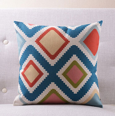 Free Shipping Blue green orange geometric pillow almofadas case seat chair bed boho cushion cover decorative