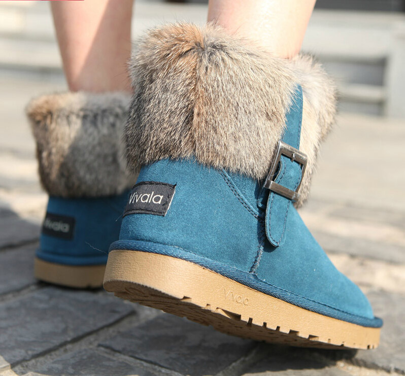 2014 New Winter Snow Boot Women Fashion Man-made rabbit Fur Buckle Motorcycle Ankle Boots Shoes - iGem store