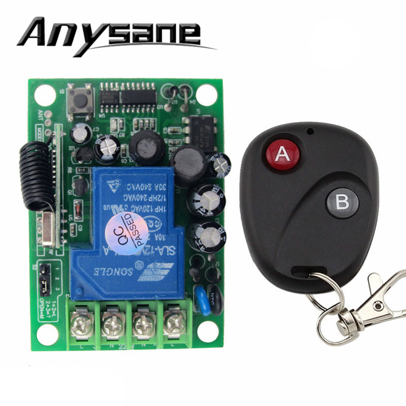 AC 220 V 30A relay Wireless RF Remote control,433MHz/315 MHz 3000W 1 CH Lighting switches with wireless 2 button remote control(China (Mainland))