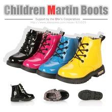 Livraison gratuite 2015 printemps mode enfants martin bottes de moto lumineuse garçons vernies filles neige PU sneakers enfants chaussures de sport(China (Mainland))
