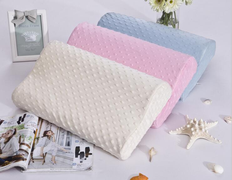 Wave Shape Memory Foam Neck Pillow Health care pillow for Neck Head Home Bedding Sleeping pillows Small Midium Large size(China (Mainland))