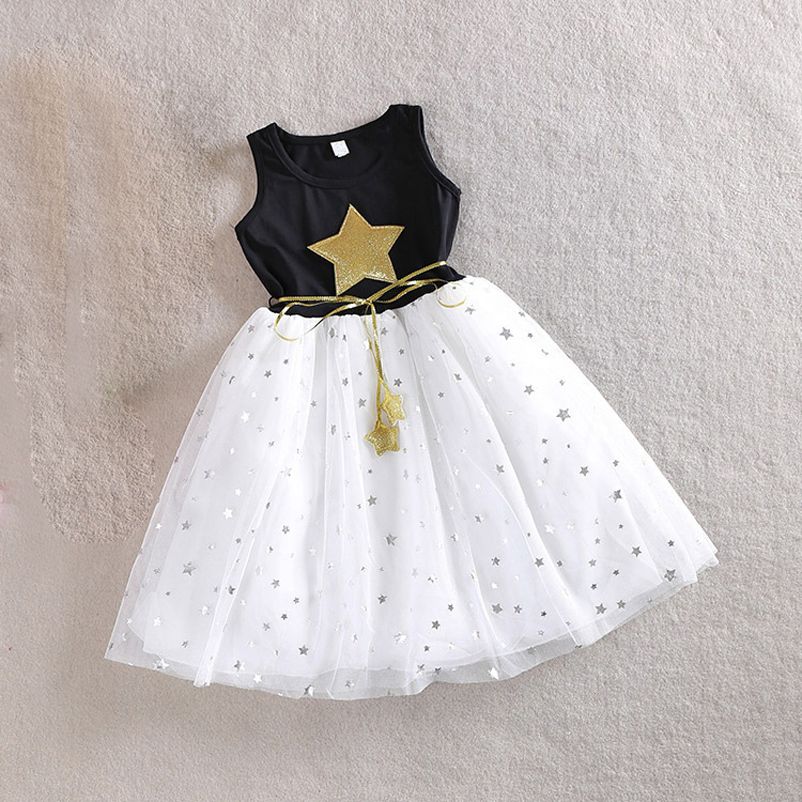 3-10Y Baby Girls Sequins Dress Star Printed with Belt Sleeveless Princess Party Kids Dresses(China (Mainland))