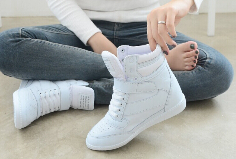 50% 0ff hot new 2015 spring autumn women ankle boots wedges heels shoes women casual height increased high top sneakers a234(China (Mainland))