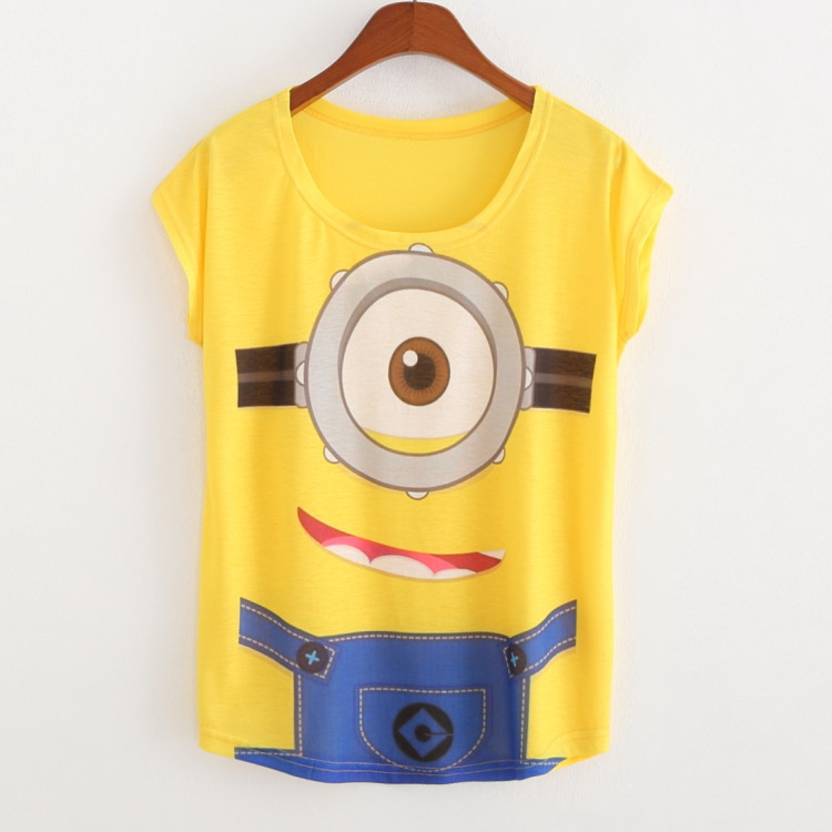 New 2016 Summer Style Fashion Brand T Shirt Women Short Sleeve Minions Printing Women T Shirt