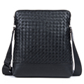 New Arrival high quality brand genuine leather men messenger bag designer knitting real skin casual business