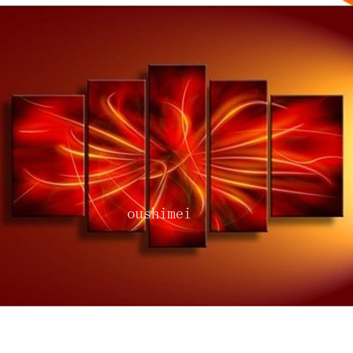 Handpainted 5 Piece Red Modern Abstract Oil Paintings On Canvas Wall Art Pictures For Living Room Home Decoration As Unique Gift