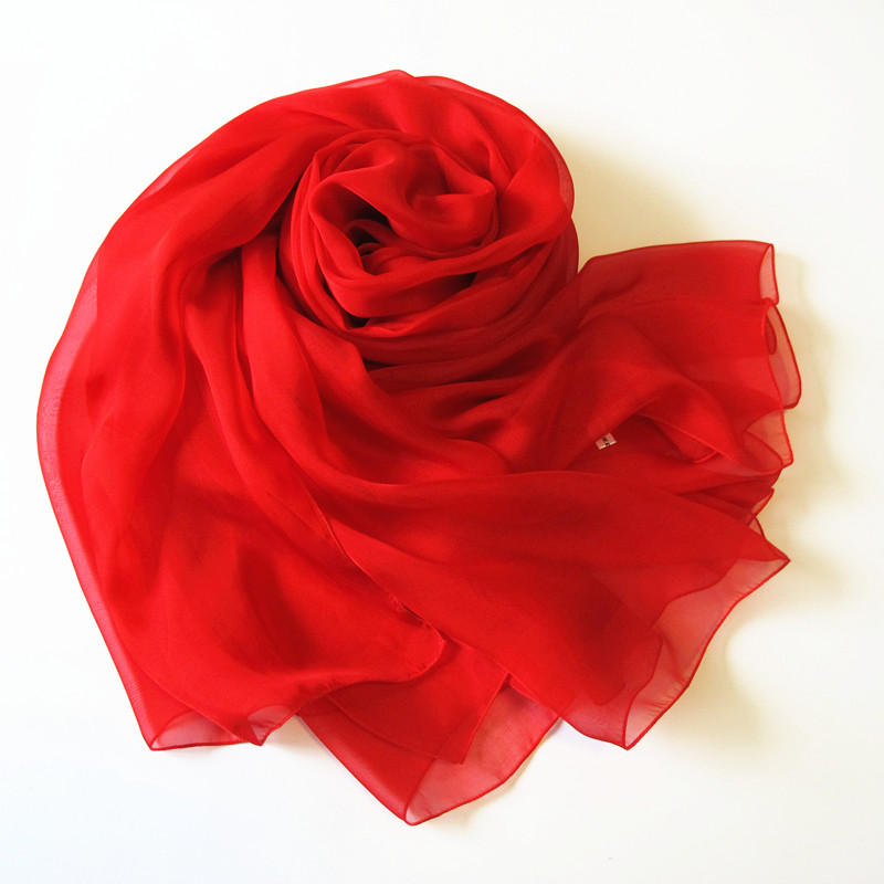 Fashion Classical Style Weddng Bride Scarf Solid Color Chiffon Silk Scarf Pure Red Flowing Scarf Wrap Cape(China (Mainland))