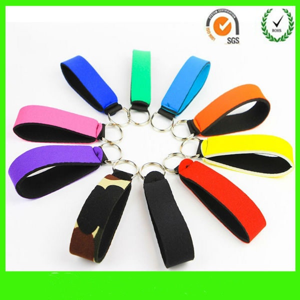Advertising Promotion ! Neoprene key Cover holder with Clip Chain Floating Wrist band strap USB Key Ring chain Personalized(China (Mainland))