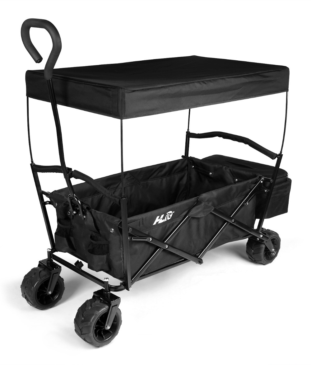HLC Collapsible Folding Utility Wagon Garden Shopping Cart With A Cover, Black with Free Diving Mask and Dry Snorkel Set(China (Mainland))