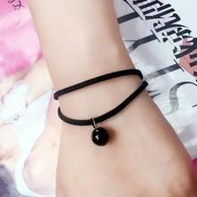 New Arrival Simple Fashion Velvet Ribbon Pendant Drip Bell Ball Bracelets Women Girl(China (Mainland))