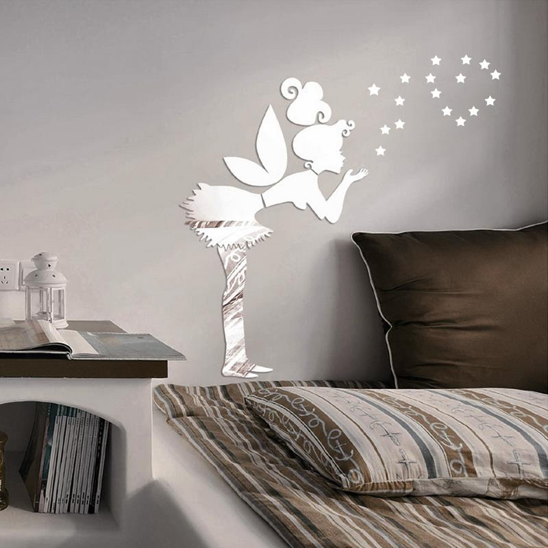 DIY fairy with stars PS wall decal,1MM thickness 3D mirror stickers,35 stars home decor,kids bedroom decoration free shipping(China (Mainland))