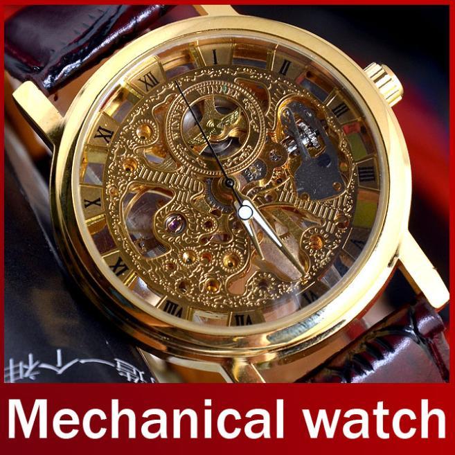 2015 Brand Winner Luxury Fashion Casual Stainless Steel Men Mechanical Watch Skeleton Hand Wind Watch For Men Dress Wristwatch(China (Mainland))