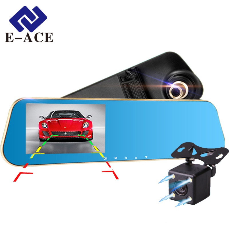 E-ACE Full HD Car Dvr Digital Video Recorder Auto Rear-view Dual Lens Camera Rearview Mirror Vehicle Registrar Dash Camcorder(China (Mainland))