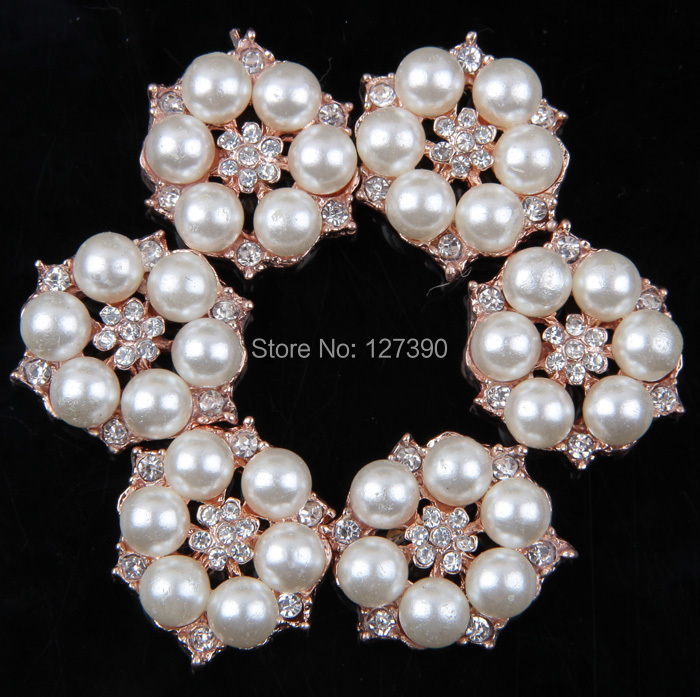 (30pcs/lot) Artificial Eco-Friendly Vintage Gold Plated Alloy Metal Rhinestone Pearl Button For Baby Girl Jewelry Accessories(China (Mainland))