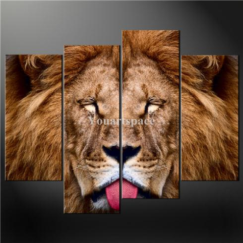 4 Piece Wall Art Painting Print Canvas Picture Lion Animal Cascade Modern Design Pictures Oil Home Decoration - Youartspace store