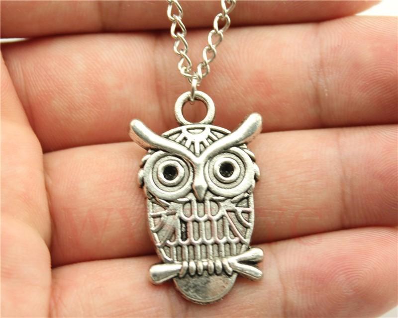 24pcs/lot Wholesale fashion antique silver owl pendant necklace, 70cm chain long necklace(China (Mainland))