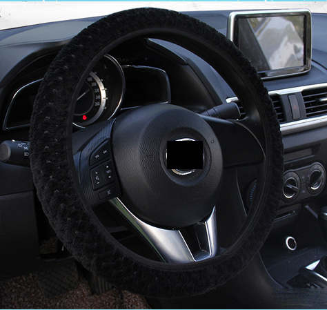 Free shipping 2016 New arrivals pink black gray girls plush Car steering wheel cover 38cm winter warm Auto Interior Accessories(China (Mainland))