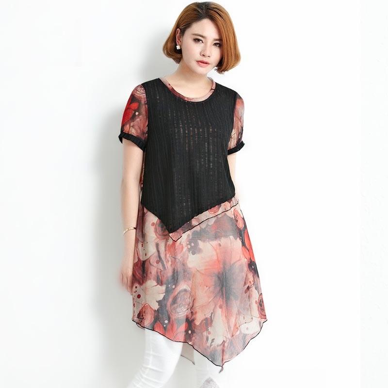 New2016Fashion Women plus size Personality printed knitted patchwork asymmetrical chiffon Dress elegant Casual vestido XXXXL6195Одежда и ак�е��уары<br><br><br>Aliexpress