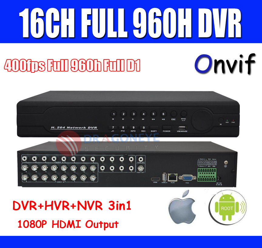 Full 960h 16ch CCTV DVR Recorder D1 1080p HDMI Output HVR NVR 3 one Mobile Phone & Network - DragonEye Security Camera Ltd's store
