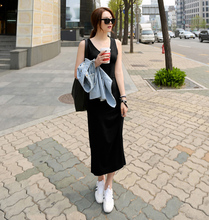 New 2015 round collar Korean modal sleeveless vest even dress sexy cultivate one's morality Ankle-length Sleeveless  Sheath
